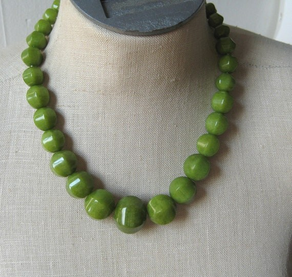 Olive Green Chunky Beaded necklace Moss Statement peridot Camo Camoflauge Sage