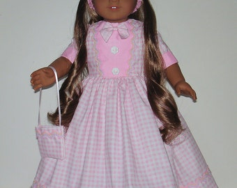 Pink Prarrie dress fits American Girl Felicity or Elizabeth with accessories No. 487