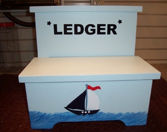 Handmade Custom Painted Nautical Step Stool