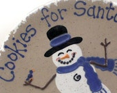 Snowman Cookies For Santa Plate - Personalized Christmas Cookie Plate  - Frosty the Snowman Plate - Santa Snack Plate - made in the USA
