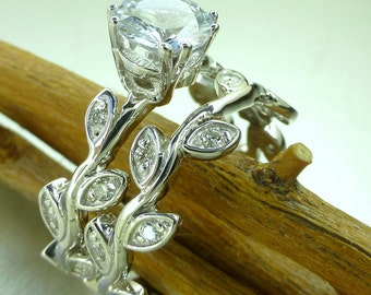 Leaf diamond engagement ring set.  14k white gold ring set. White sapphire engagement ring.  Leaf ring set. Vine diamond ring.
