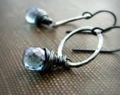 Last pair - Wire wrapped earrings handcrafted hammered sterling silver mystic quartz winter ice blue - Hail