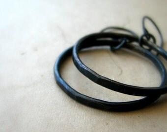 Hoops, copper earrings, hammered texture, rustic earrings, rustic jewelry, black patina - Desperado