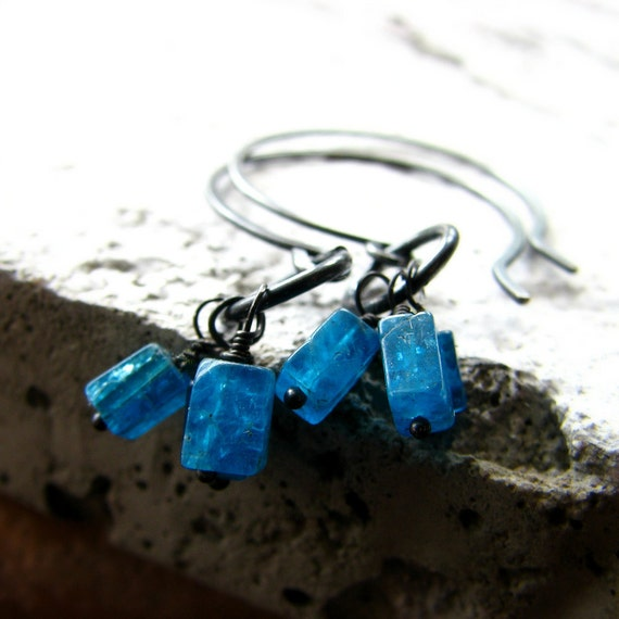 Apatite and sterling silver earrings half hoop rustic blue gemstones - Cliffjumper