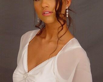 White chiffon bridal bolero jacket wedding short sleeve