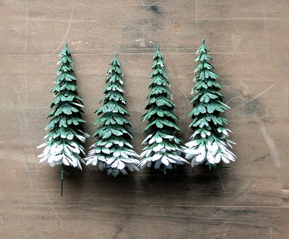 Sparkling Forest - Vintage Christmas Tree Picks - Holidays - Forest - Snow - Woodland - Green - Pine - Holiday Decor - Supplies