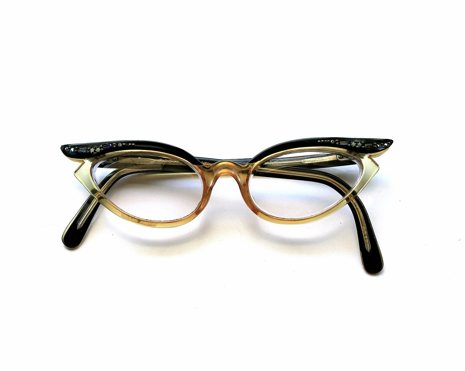 Eyeglass Frames Made In France : Catty Vintage Swank Cat Eye Glasses Made in France by becaruns