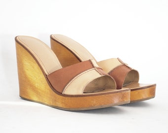4 Inch Solid Wood Patchwork Platform Slip On Clogs 8, 7.5. Made In Brazil.