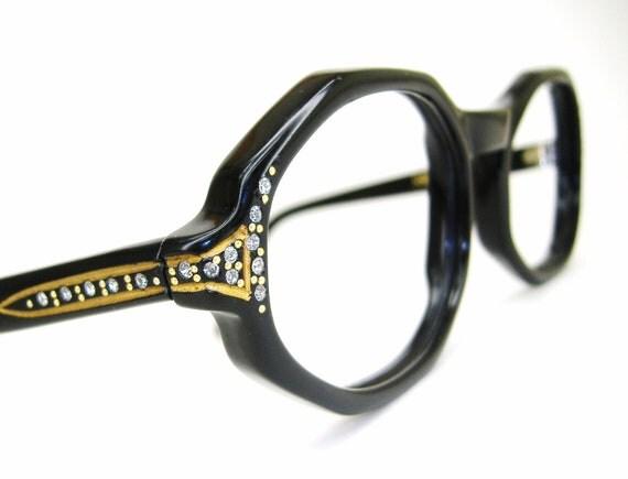 Vintage 60s Black Octagon Eyeglasses Frame Jeweled