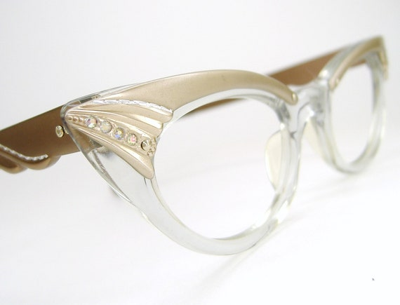 Vintage 1950s Cat eye Eyeglasses Sunglasses Eyewear Pointy Frame