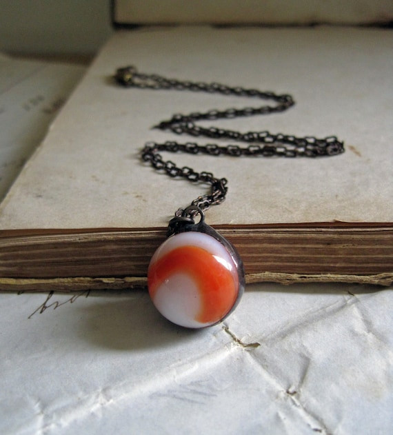 Orange and White Vintage Marble Necklace