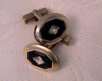 Vintage ANSON Black Crystal Inlay Cufflinks