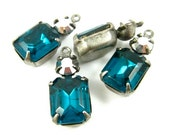 2 - Set Stone Vintage Octagon Stone and Swarovski Crystal 1 Ring Silver Antique Brass Prong Settings Zircon Blue & Silver18x8mm