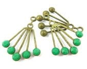 2 - RARE Vintage Art Deco Style Brass Dangle Finding with Opaque Green Swarovski Crystals - 30x21mm