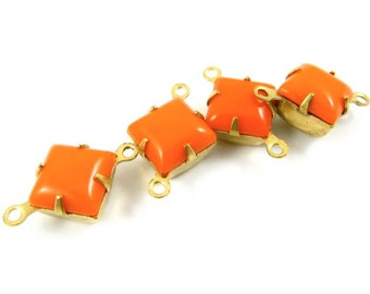 6 - Vintage Glass Square Stones in 2 Rings Closed Back Brass Prong Settings - Opaque Tangerine Orange - 8x8mm