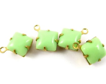 6 - Vintage Glass Square Stones in 1 Ring Closed Back Brass Prong Settings - Opaque Light Green -  8x8mm