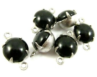 6 - Vintage Glass Round Stones in 2 Rings Silver Antique Brass Prong Settings - Jet Black - 8mm