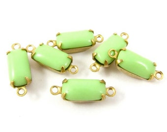 Vintage Glass Octagon Stones 1 Ring 2 Rings Closed Back Brass Prong Settings 10x5mm Opaque Light Green - 6