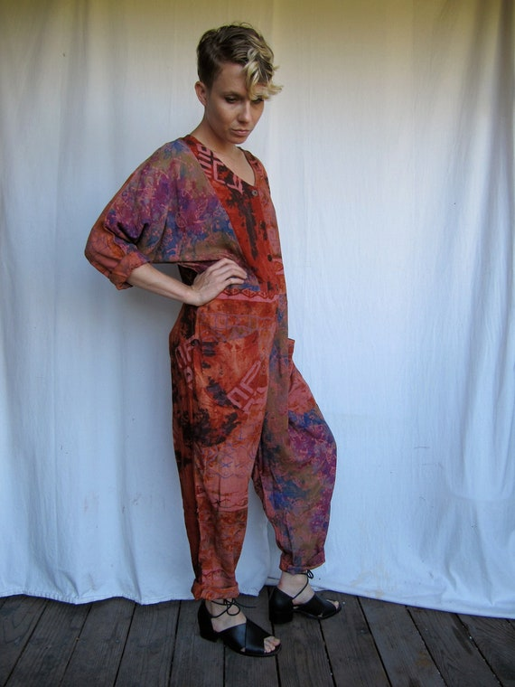 Oversized Rayon Batik Print Jumpsuit Last chance