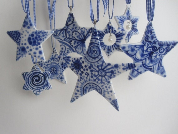 Delft Star ornament - Hand painted  Blue and white porcelain ornament