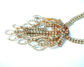 Art Deco Hollywood Statement Necklace Vintage Rhinestone Fringe Statement Jewelry