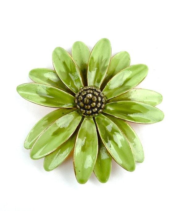 Designer Vintage Chartreuse Green Enamel Flower Brooch Signed Sandor Jewelry