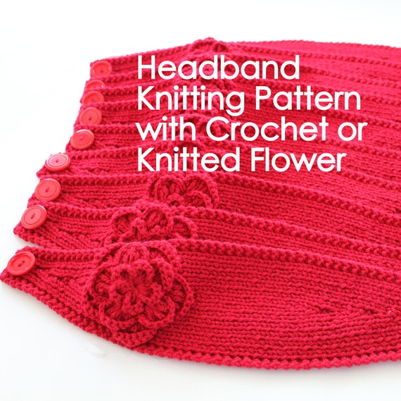 Knitting Pattern For A Headband With Flower : PATTERN Knitting Pattern Headband with Crochet Or Knitted