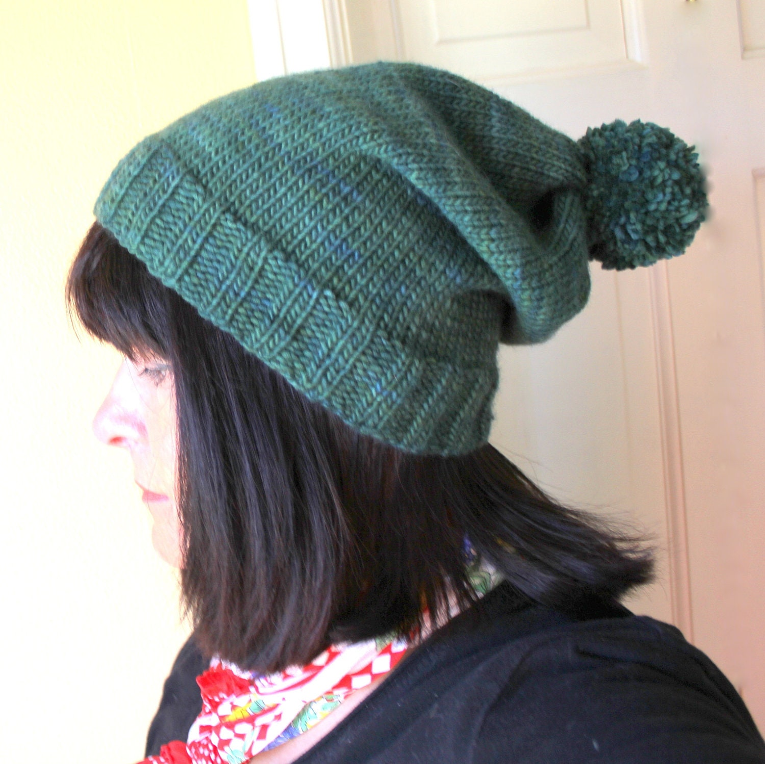Knitting Pattern For Bobble Hat : KNITTING PATTERN Bobble Hat/Stocking Cap Slouchy in Six