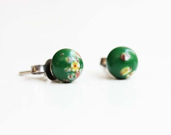 Vintage Japanese Confetti Studs - Green