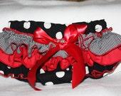 Sassy Fancy Ruffle Panty, Sweet Ruffle Pants, Ruffle Bloomers, Handmade Sassy Britches Black  Red photo prop