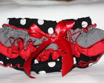 Sassy Fancy Ruffle Panty, Sweet Ruffle Pants, Ruffle Bloomers, Handmade Sassy Britches Black  Red photo prop