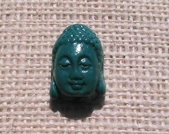 Large teal green Buddha bead. Buddha Bead.