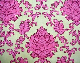 Pink, Yellow, Damask, Fabric, Sale, Bohemian, Festival, Lila, Tueller, Riley, Blake, Designs, 1 yard, FREE SHIPPING to US, Wholesale