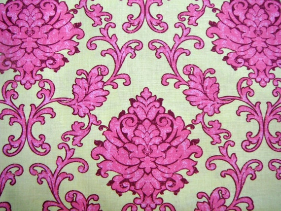 Pink, Yellow, Damask, Fabric, Sale, Bohemian, Festival, Lila, Tueller, Riley, Blake, Designs, 1 yard, FREE SHIPPING to US, Wholesale