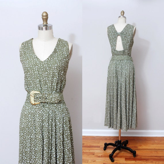 1980s Maxi Dress - Sage Floral Open Back Dress