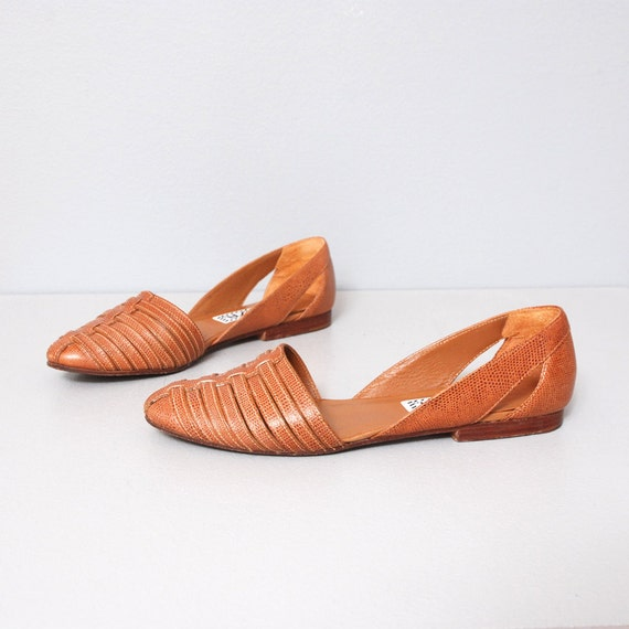 1980s Flats - Brown Leather Huarache Flats Size 7.5
