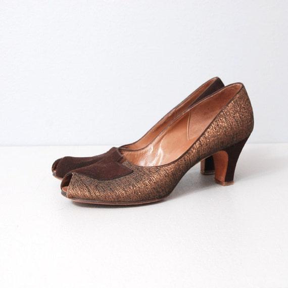 1950s Heels - Bronze Garland Peeptoe Heels Size 9