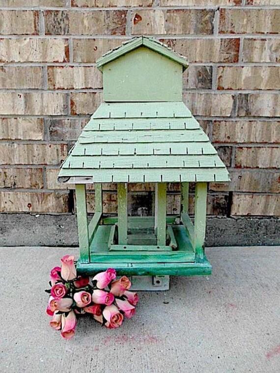 Vintage - Joyous Jadeite - Architectural - Hand Crafted Bird Feeder - Shabby Cottage CHIC Display