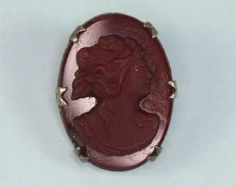Red Glass Cameo Pin Sterling Setting 1920s 1930s