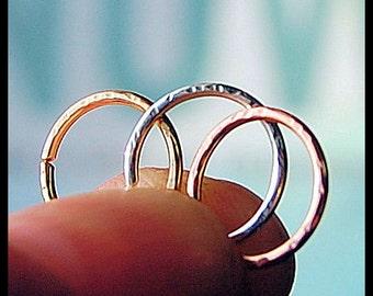 White Gold Nose Ring / 14 Karat Solid Textured Style Gold Nose Ring / Dainty Nose Ring  - CUSTOMIZE