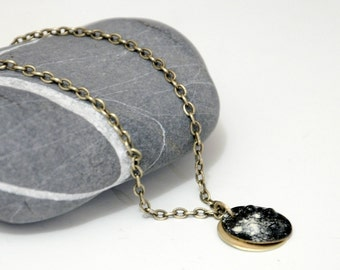 Enameled Brass Necklace - The Dark Side Of The Moon - Black and Cream Enamel Charm
