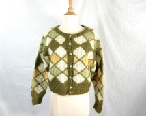 80s Vintage Mohair Cardigan Sweater Oversize Cropped Green and Gold Cable Knit Argyle - Medium