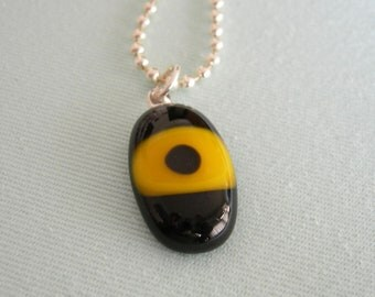 Black and Yellow Fused Glass Necklace