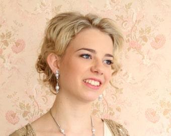 bridal earrings, wedding earrings, bridal jewelery, pearl and crystal Imogen Earring   ER1045