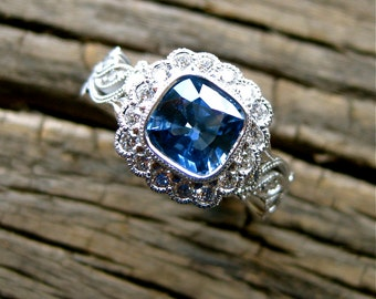 Blue Sapphire & Diamond Engagement Ring in 14K White Gold with Flower Buds and Leafs on Vine Motif Size 5