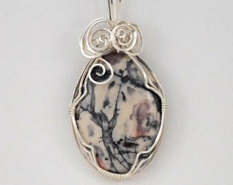 Porcelain Jasper pendant. grey, pink, cream,with Sterling Silver wire wrap - P199