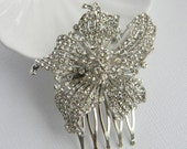 Rhinestone Encrusted Hair Comb - Lily Hair Comb - Bridal Comb - Wedding Comb - Bridal Hairpiece