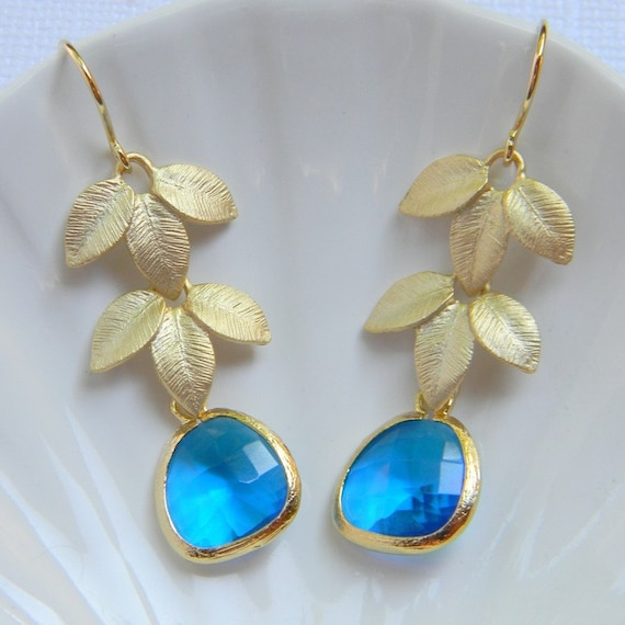 Gold Bridesmaid Earrings - Gold Double Leaf with Capri Blue Earrings - Bohemian Earrings - Gift - Boho Chic