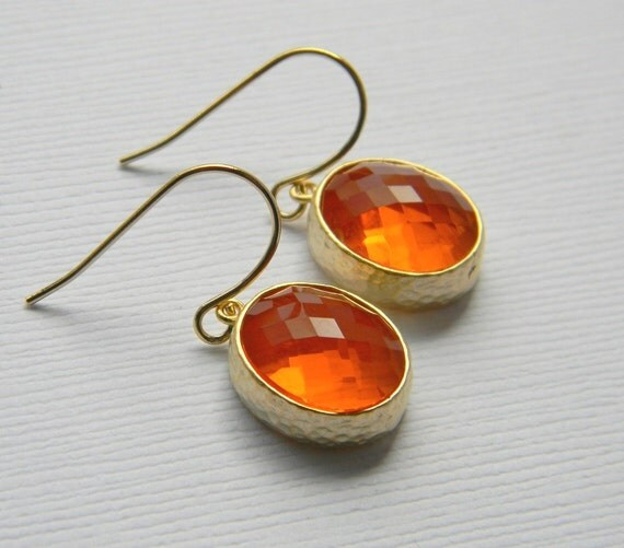 Carnelian Earrings - Orange Earrings - Bridesmaid Earrings - Czech Glass - Gold Earrings - Gift - Wedding