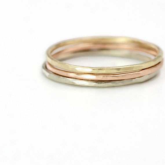 Tricolored Hammered Stack Rings, Set of 3 // 14k Gold Mixed Metal Stacking Ring Set with Thin Hammered Rings in Yellow White and Rose Gold